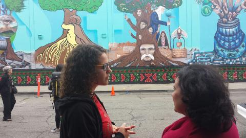 Ana (on right) view murals.